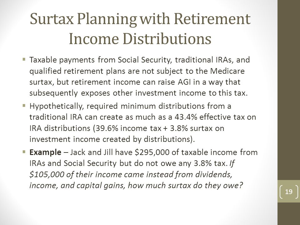 Surtax Planning with Retirement Income Distributions
