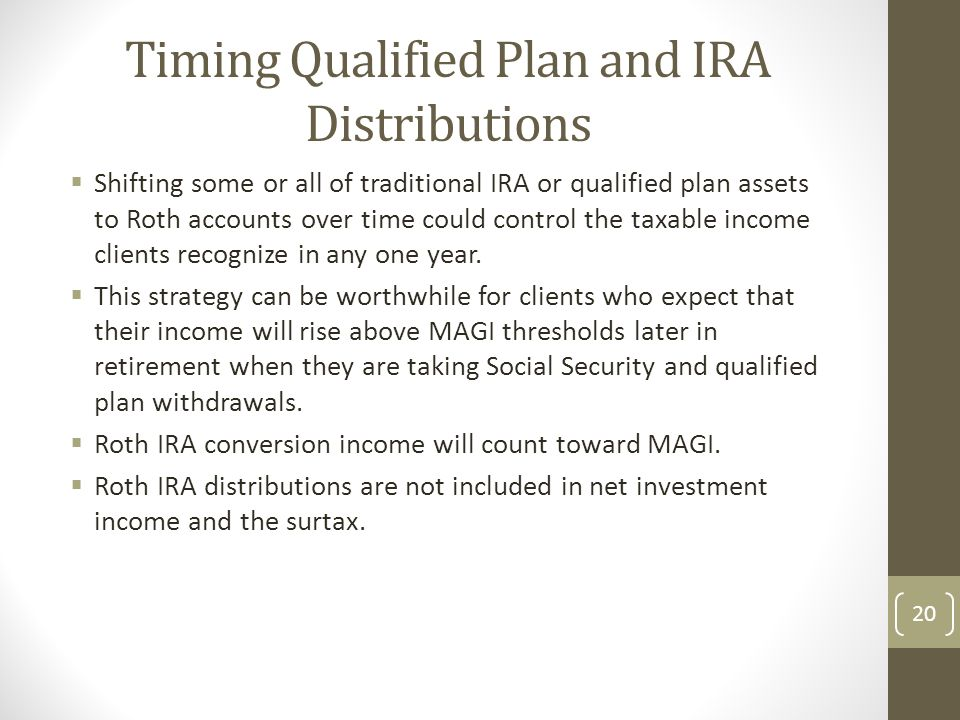 Timing Qualified Plan and IRA Distributions