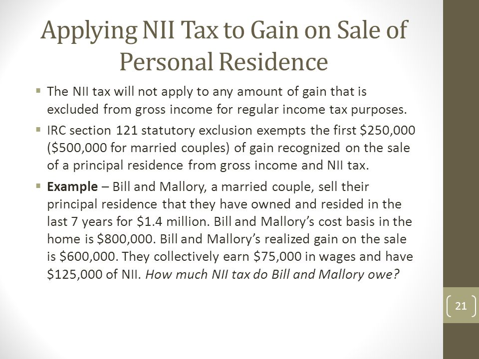 Applying NII Tax to Gain on Sale of Personal Residence