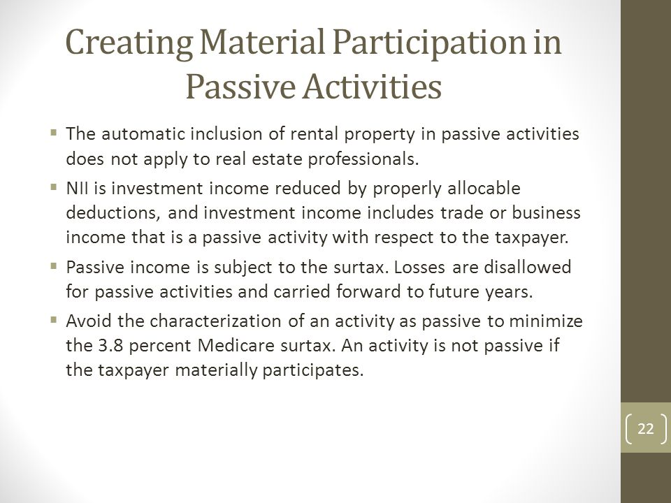 Creating Material Participation in Passive Activities