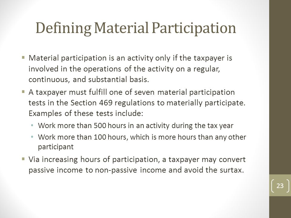 Defining Material Participation