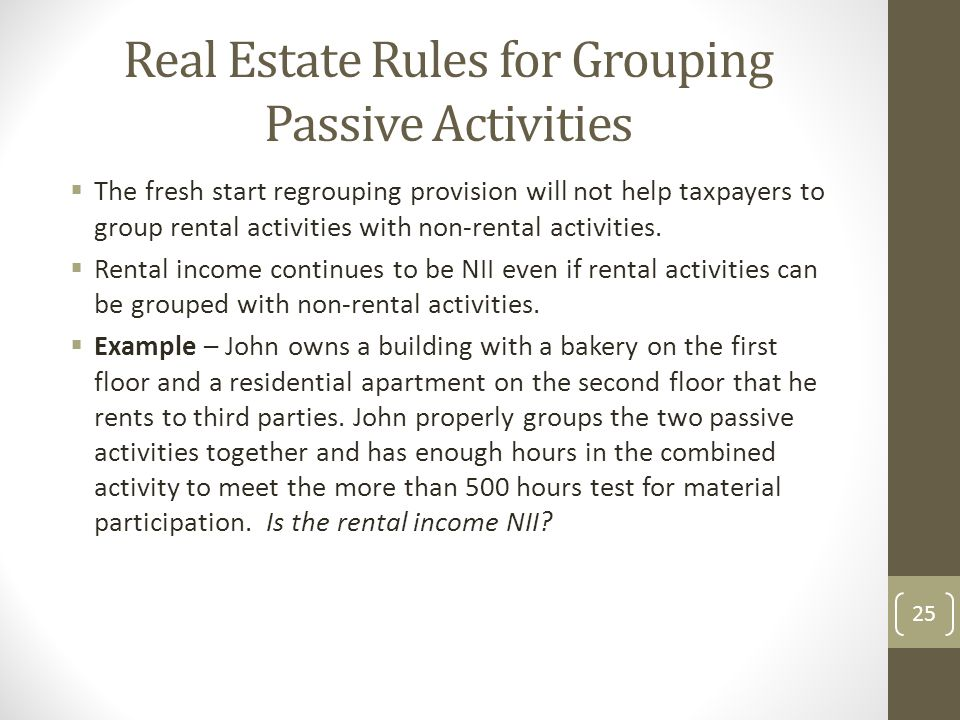 Real Estate Rules for Grouping Passive Activities