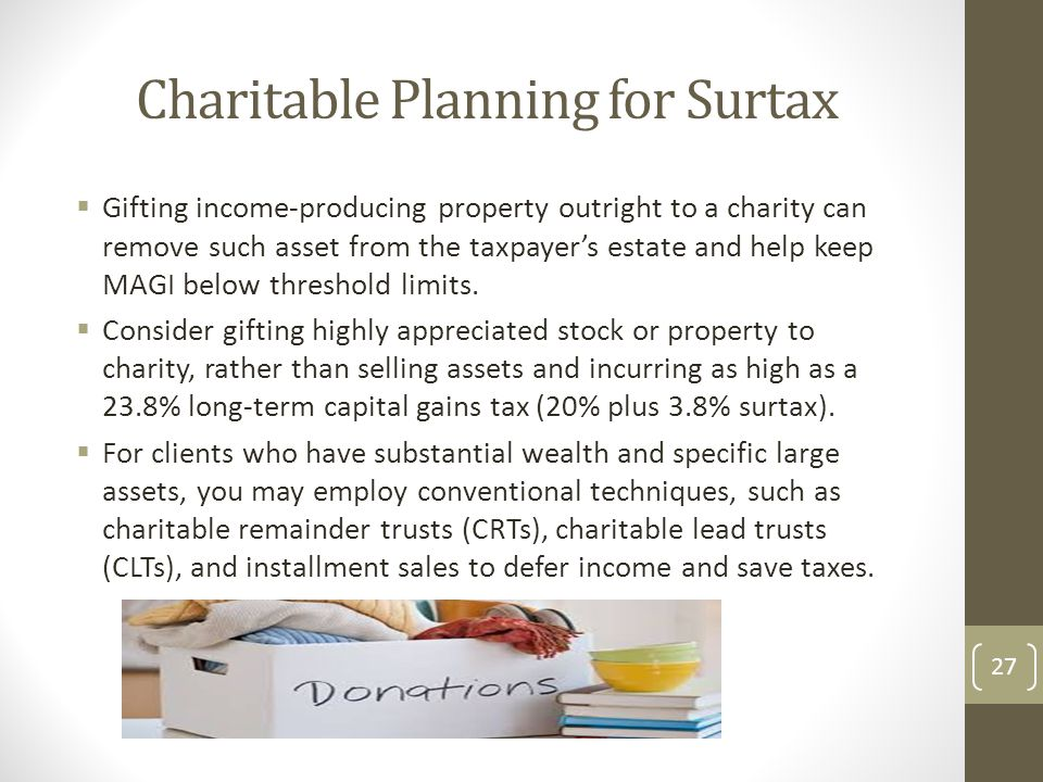 Charitable Planning for Surtax