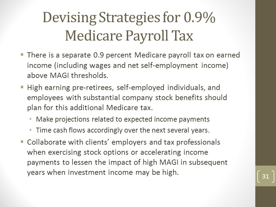 Devising Strategies for 0.9% Medicare Payroll Tax