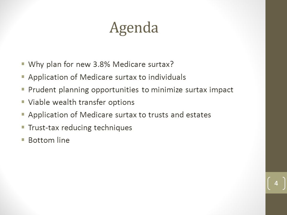 Agenda Why plan for new 3.8% Medicare surtax