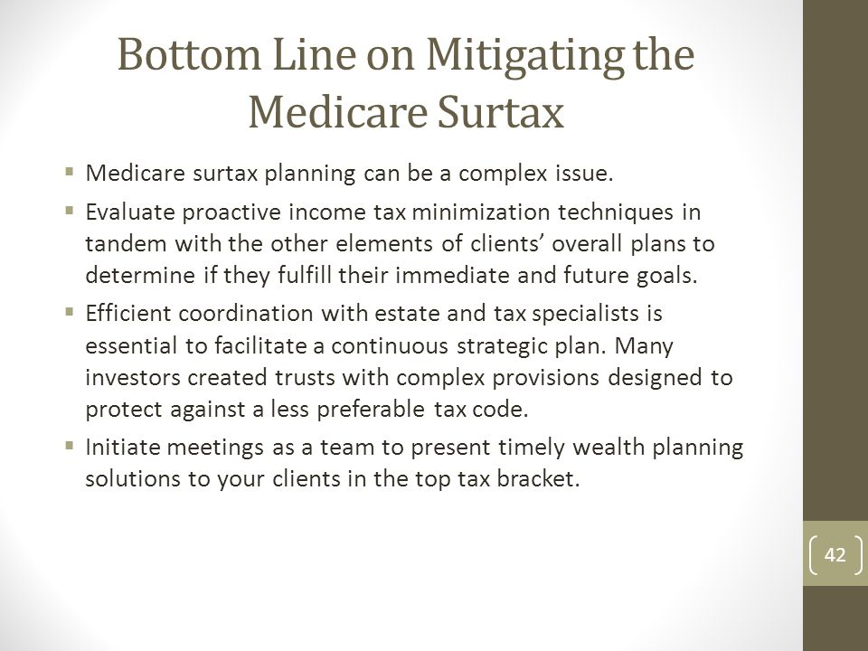 Bottom Line on Mitigating the Medicare Surtax