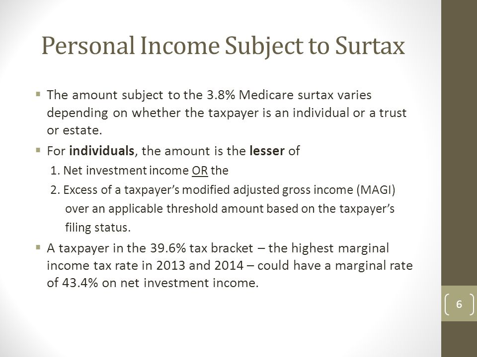Personal Income Subject to Surtax