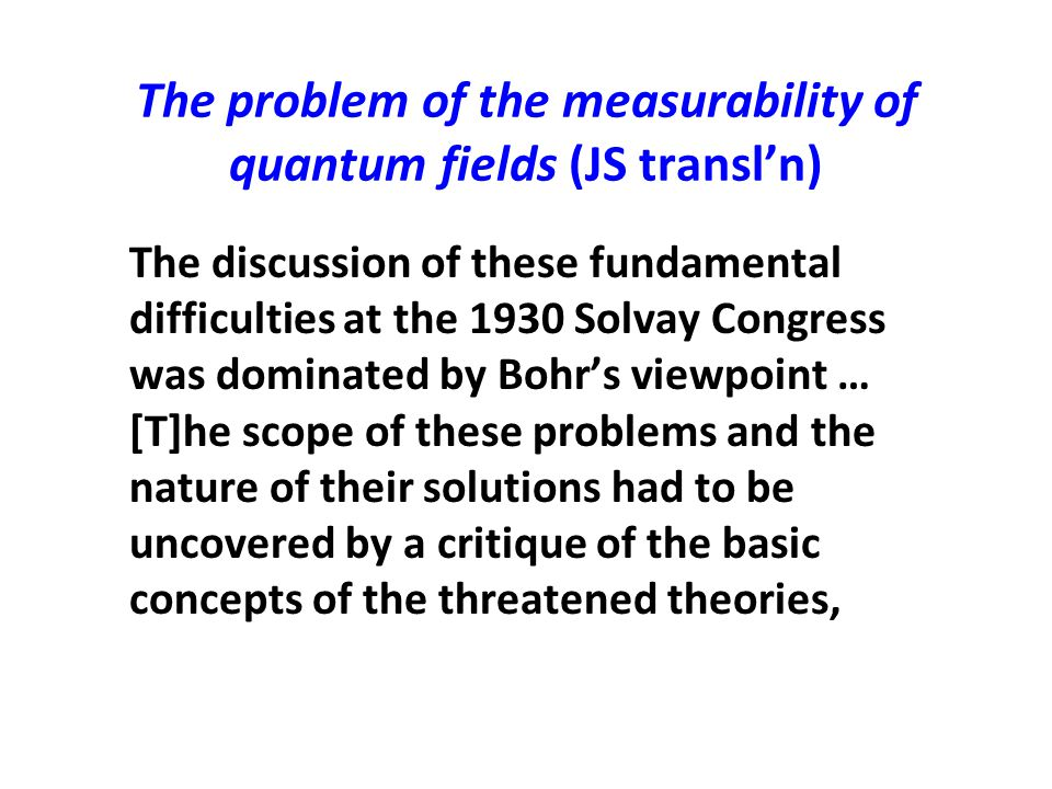 The problem of the measurability of quantum fields (JS transl'n)
