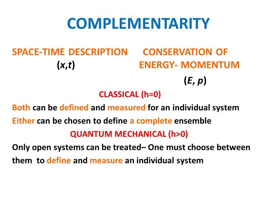 COMPLEMENTARITY SPACE-TIME DESCRIPTION CONSERVATION OF (x,t) ENERGY- MOMENTUM.