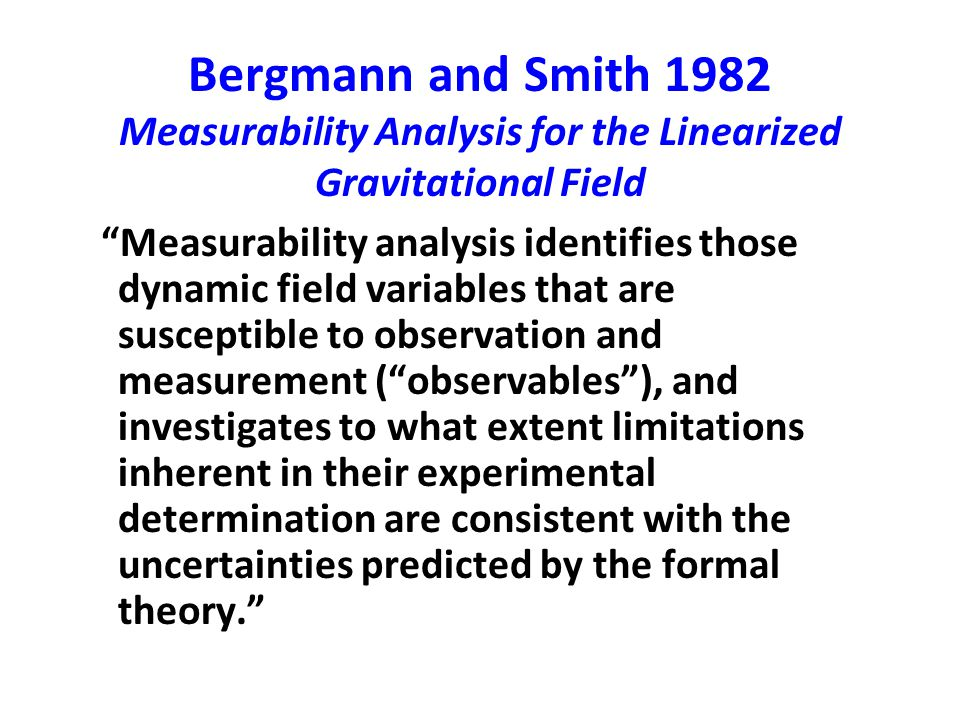 Bergmann and Smith 1982 Measurability Analysis for the Linearized Gravitational Field