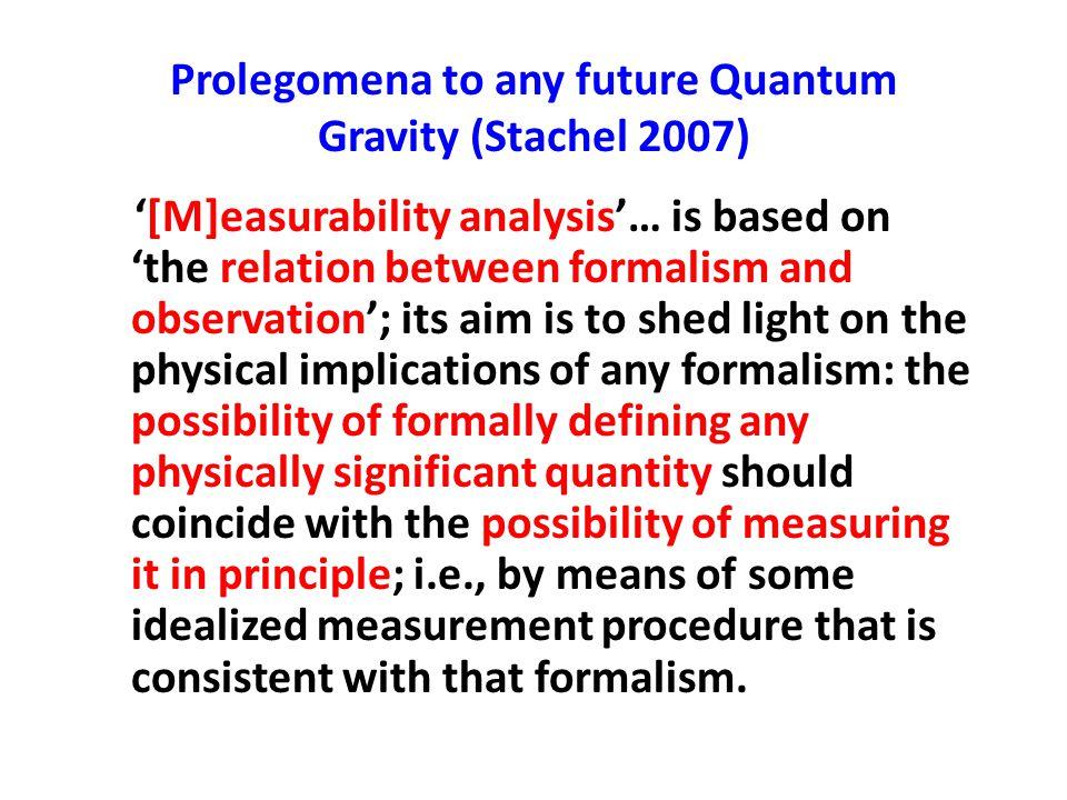 Prolegomena to any future Quantum Gravity (Stachel 2007)
