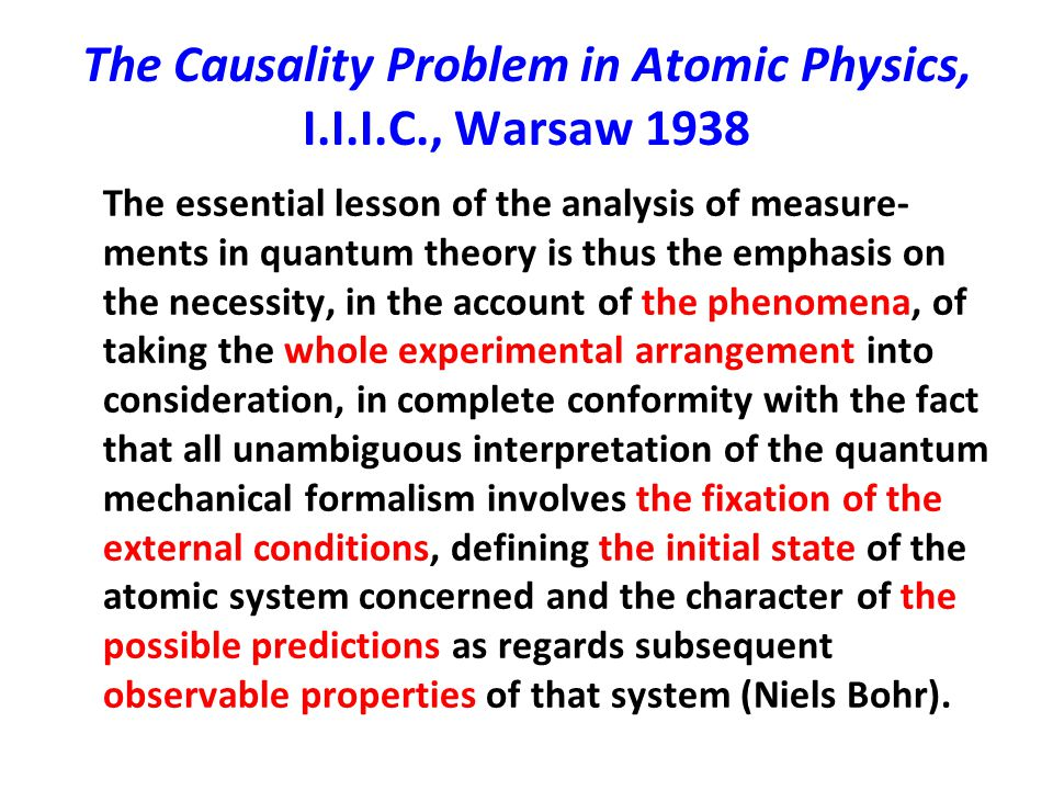 The Causality Problem in Atomic Physics, I.I.I.C., Warsaw 1938