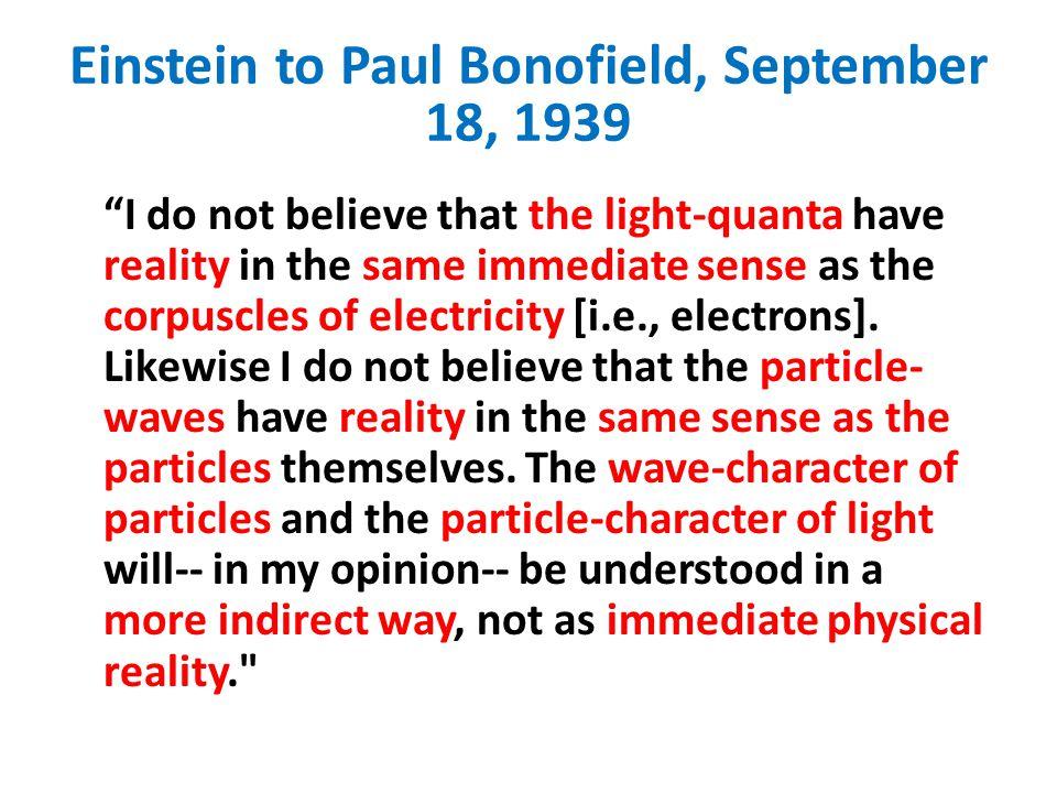 Einstein to Paul Bonofield, September 18, 1939