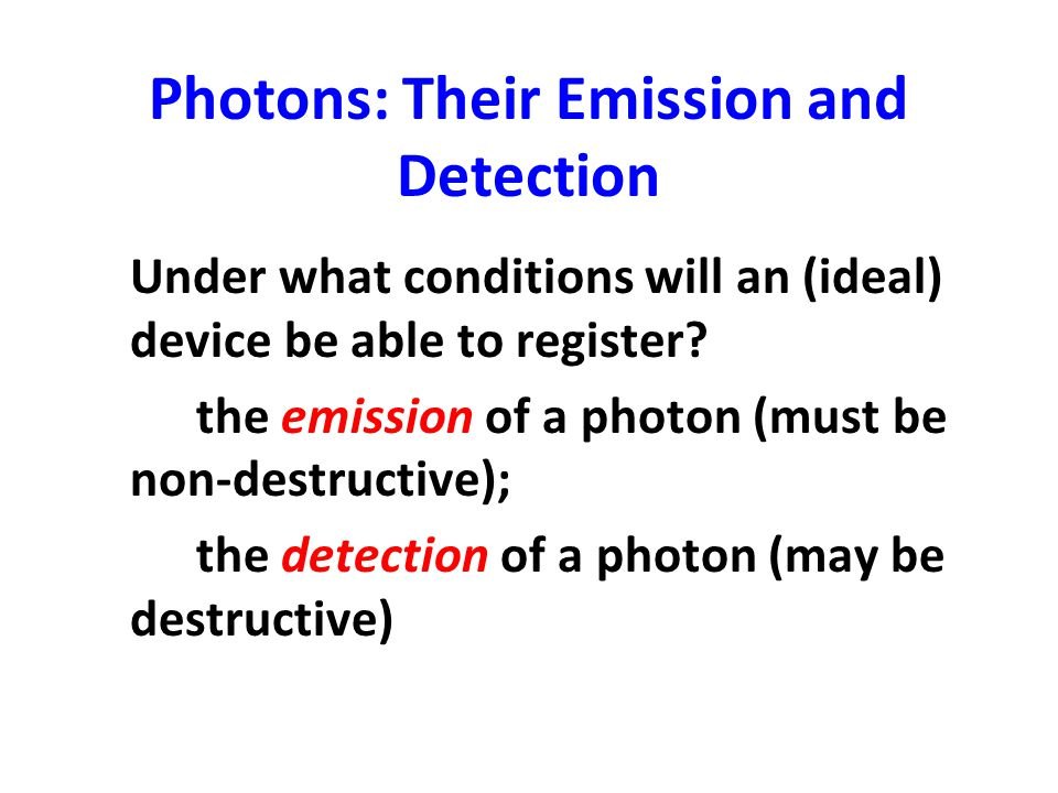 Photons: Their Emission and Detection
