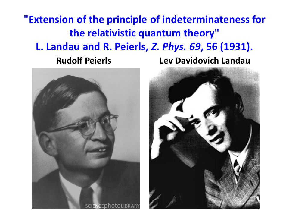 Extension of the principle of indeterminateness for the relativistic quantum theory L. Landau and R. Peierls, Z. Phys. 69, 56 (1931).