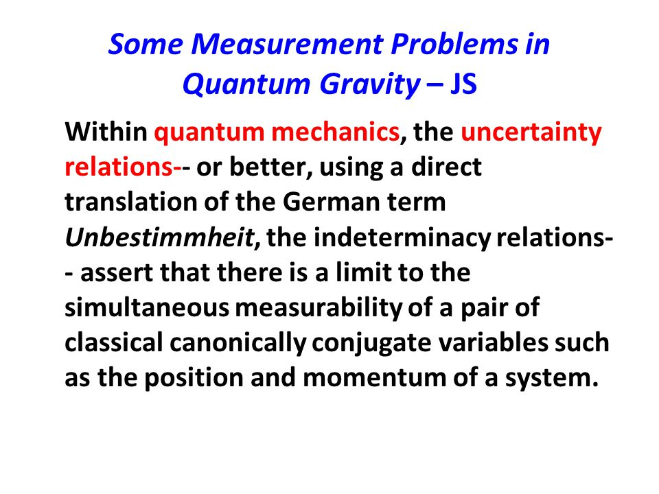 Some Measurement Problems in