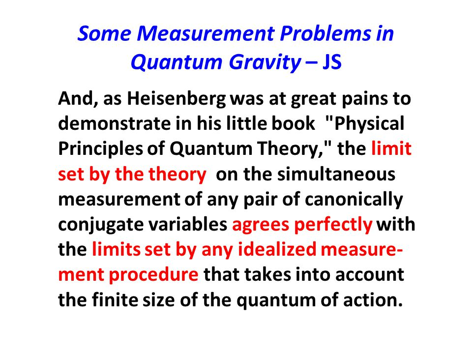 Some Measurement Problems in Quantum Gravity – JS