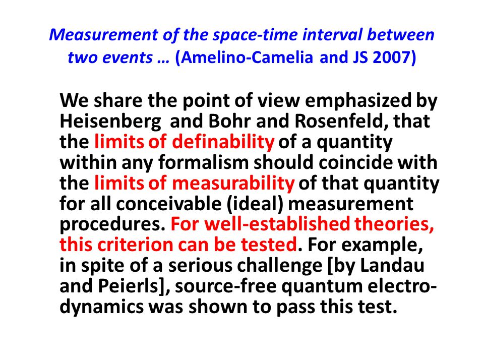 Measurement of the space-time interval between two events … (Amelino-Camelia and JS 2007)