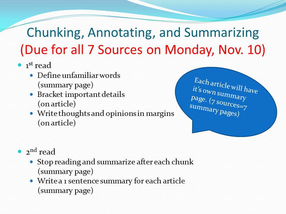 Chunking, Annotating, and Summarizing (Due for all 7 Sources on Monday, Nov. 10)