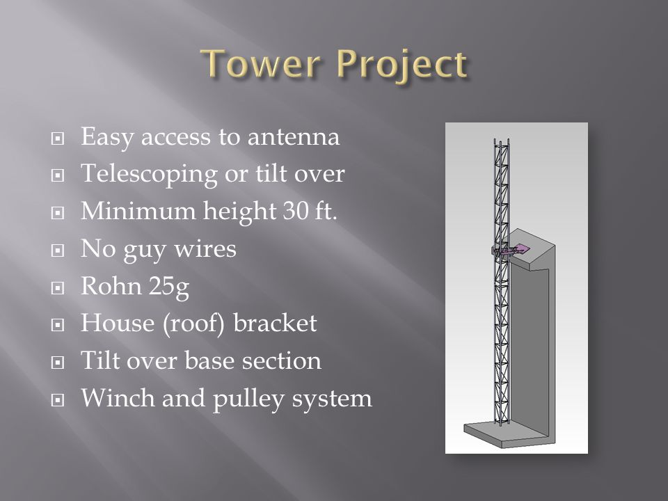 Tower Project Easy access to antenna Telescoping or tilt over