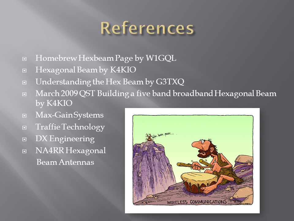 References Homebrew Hexbeam Page by W1GQL Hexagonal Beam by K4KIO