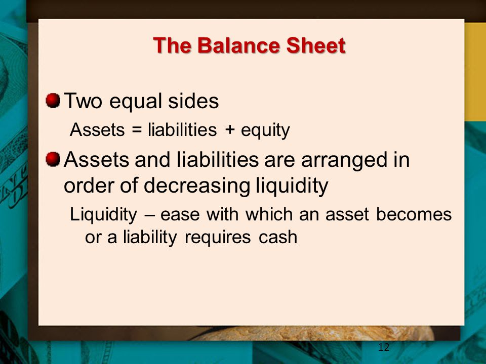 Assets and liabilities are arranged in order of decreasing liquidity
