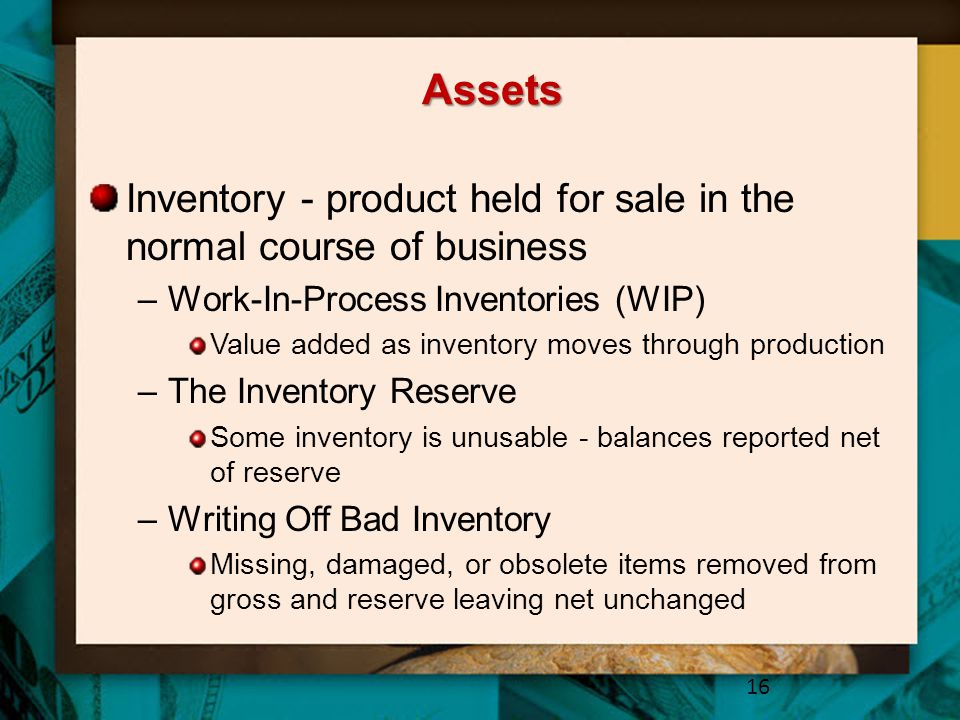 Assets Inventory - product held for sale in the normal course of business. Work-In-Process Inventories (WIP)