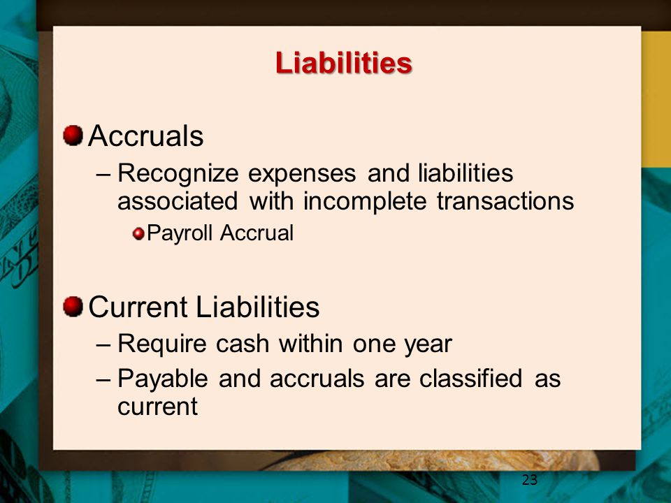 Liabilities Accruals Current Liabilities