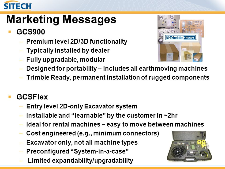 Marketing Messages GCS900 GCSFlex Premium level 2D/3D functionality