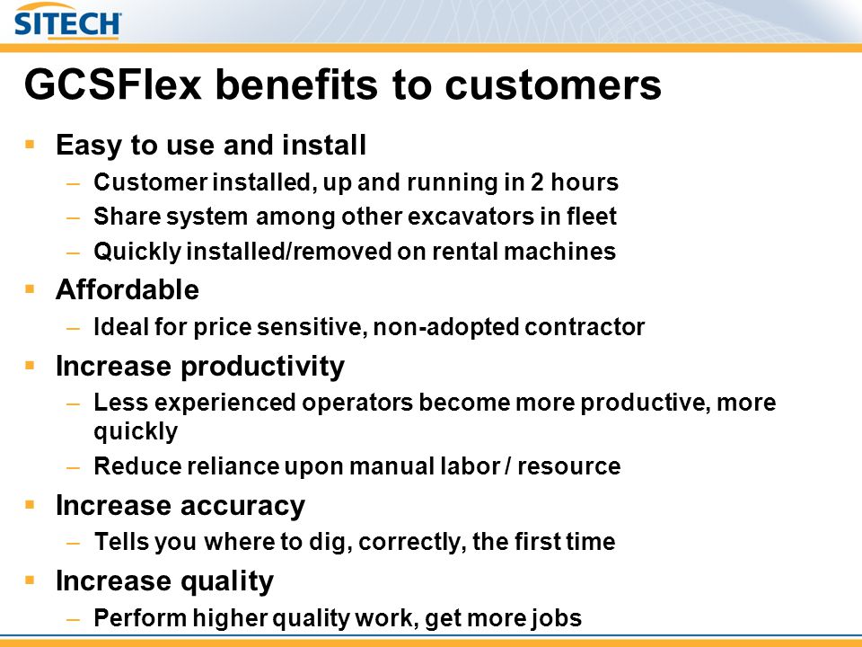 GCSFlex benefits to customers