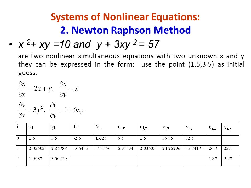 Systems of Nonlinear Equations: 2. Newton Raphson Method