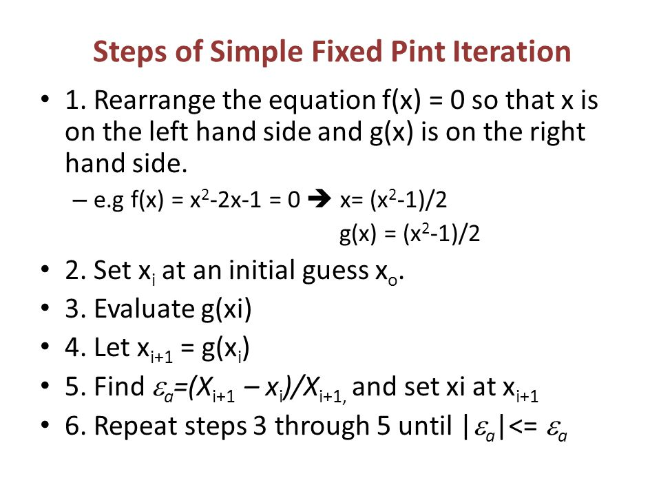 Steps of Simple Fixed Pint Iteration