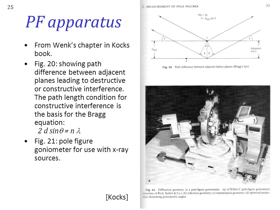 PF apparatus From Wenk's chapter in Kocks book.