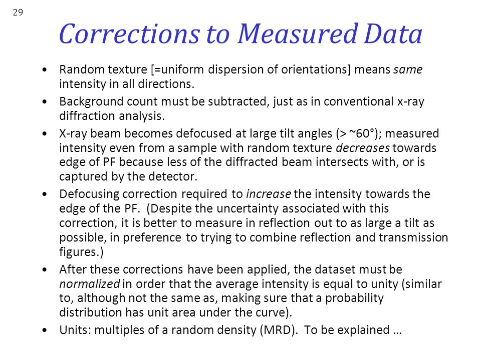 Corrections to Measured Data