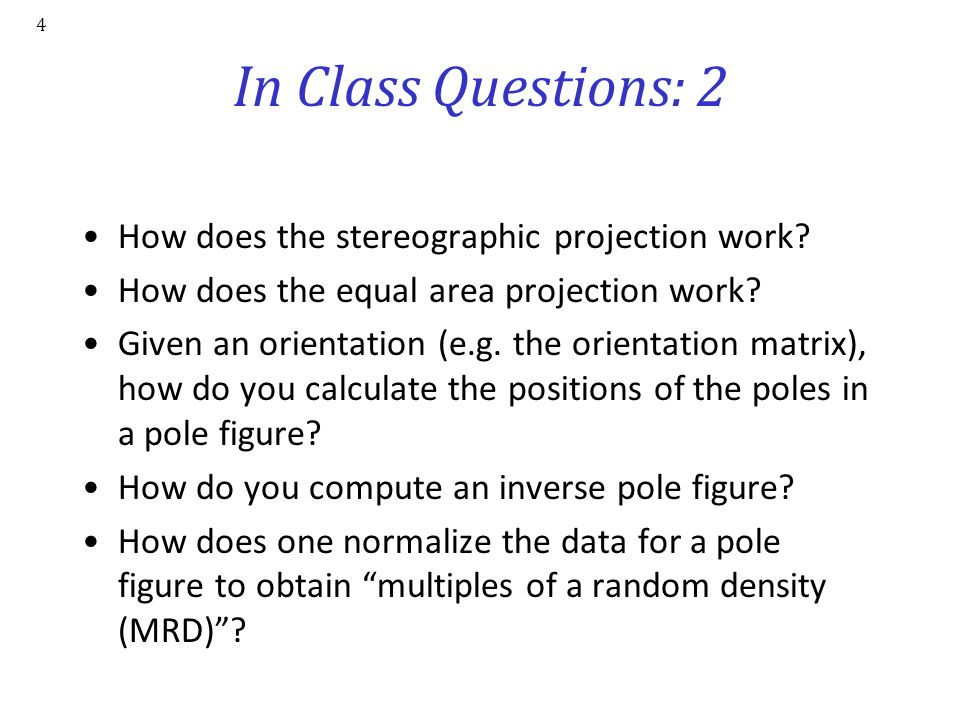 In Class Questions: 2 How does the stereographic projection work