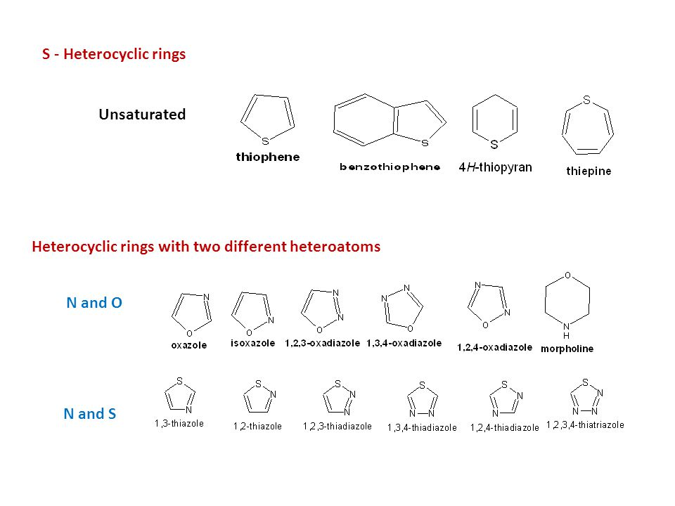 S - Heterocyclic rings Unsaturated. Heterocyclic rings with two different heteroatoms.