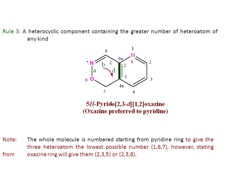 Rule 3: A heterocyclic component containing the greater number of heteroatom of any kind
