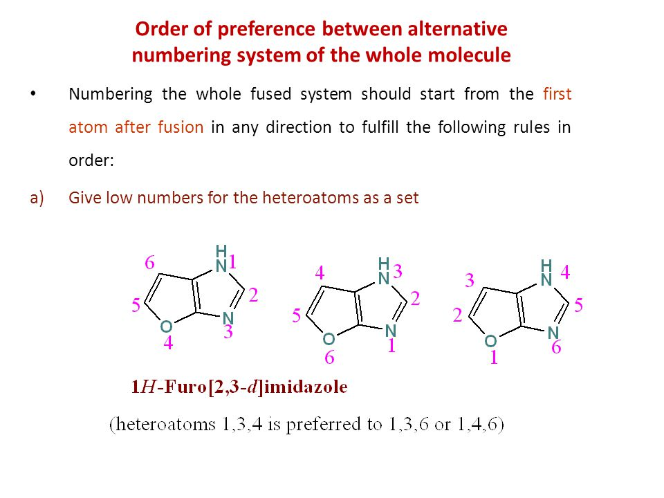 Order of preference between alternative numbering system of the whole molecule