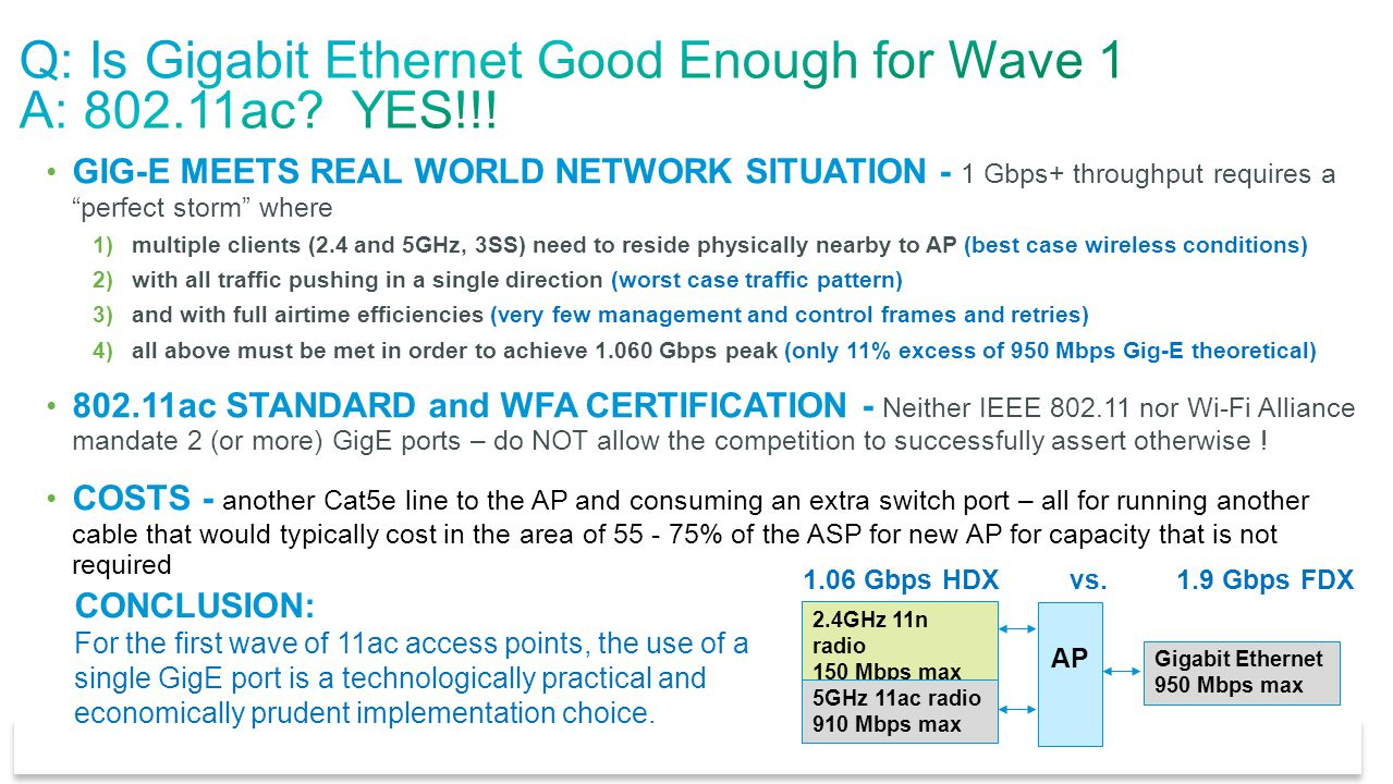 Q: Is Gigabit Ethernet Good Enough for Wave 1 A: 802.11ac YES!!!