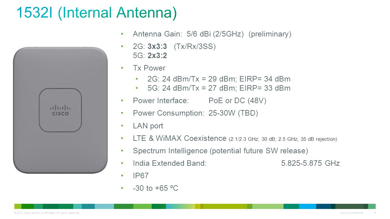 1532I (Internal Antenna) Antenna Gain: 5/6 dBi (2/5GHz) (preliminary)