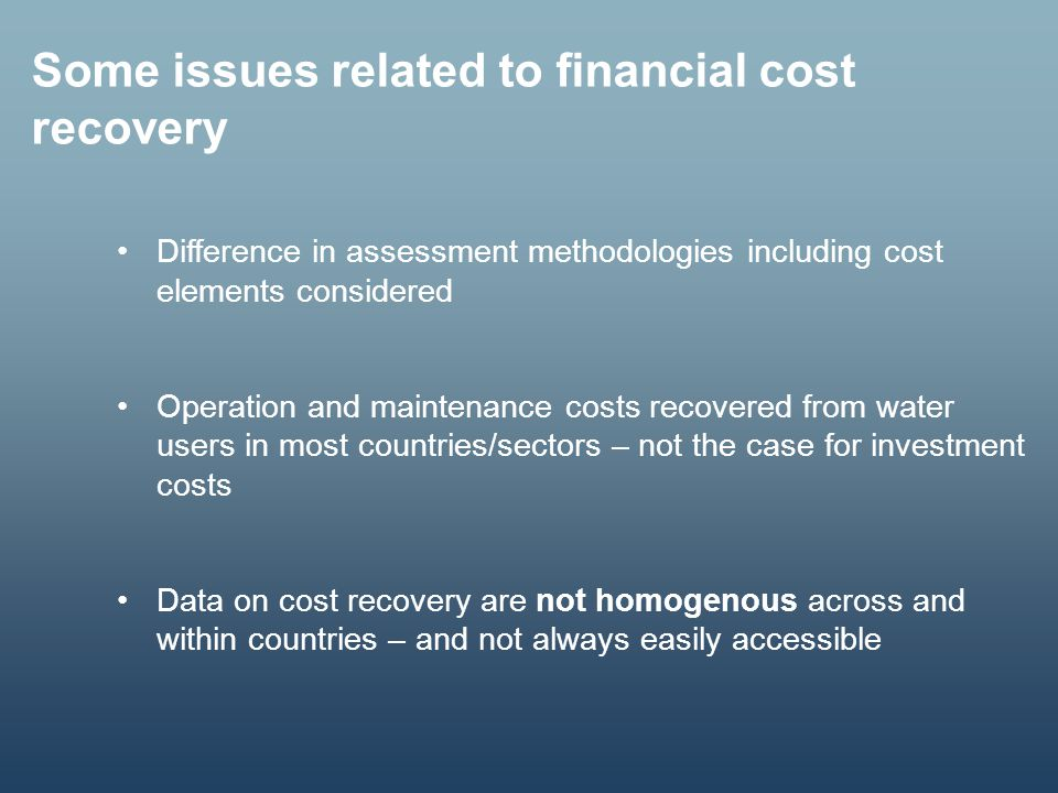 Some issues related to financial cost recovery