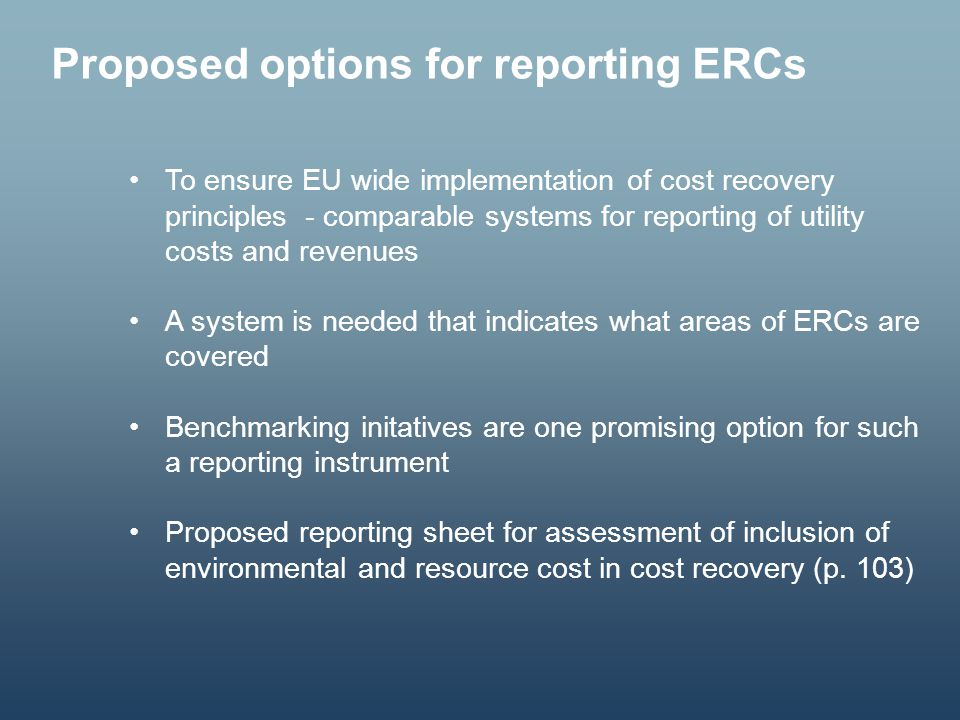 Proposed options for reporting ERCs