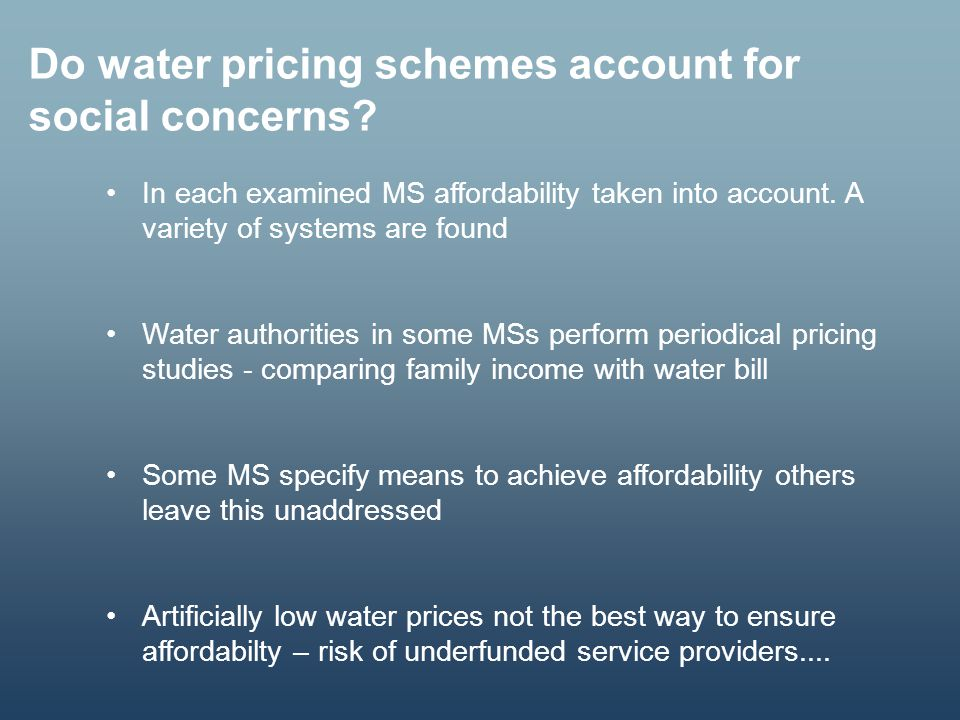 Do water pricing schemes account for social concerns