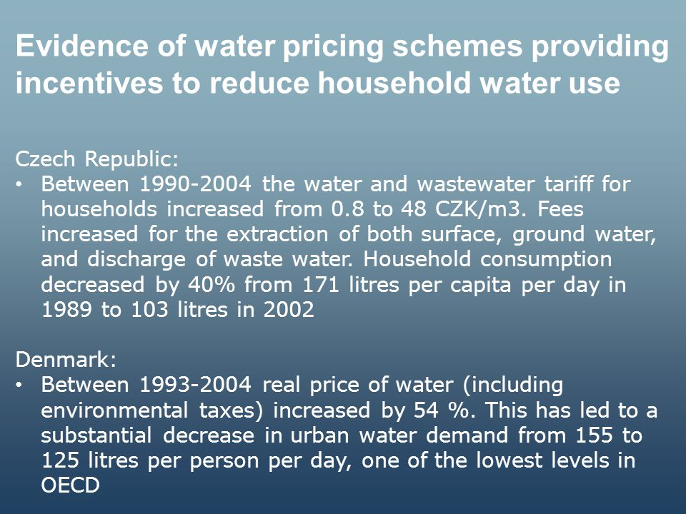 Evidence of water pricing schemes providing incentives to reduce household water use