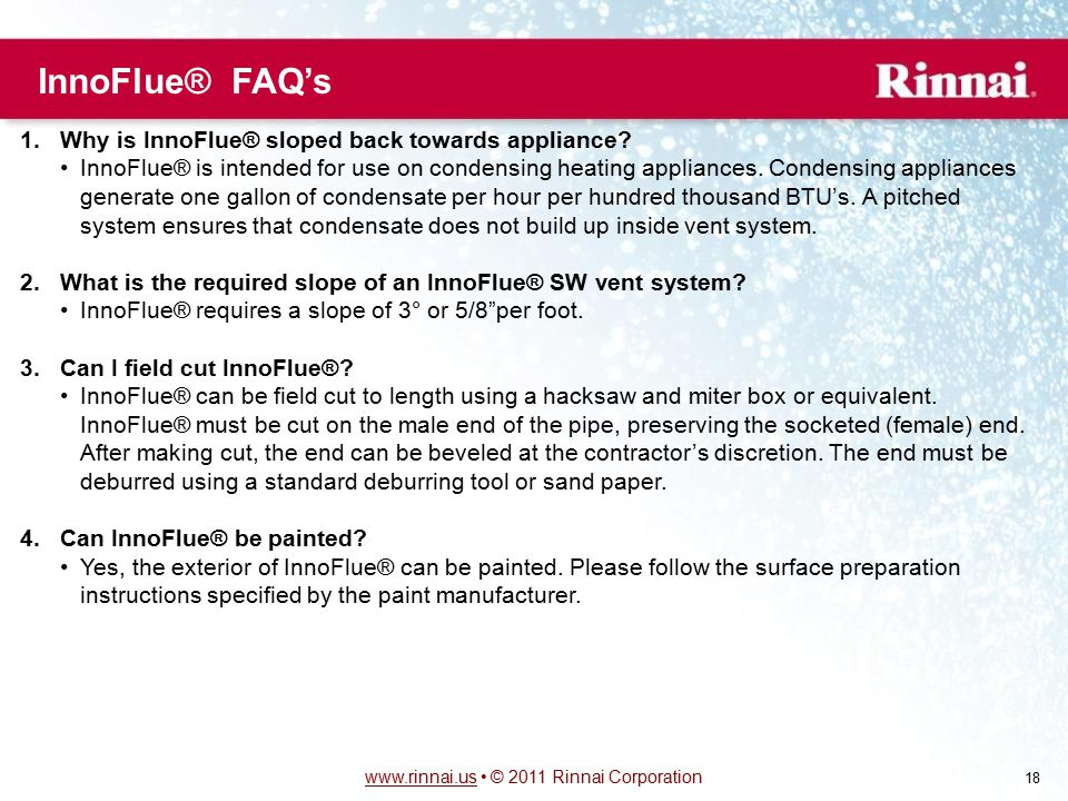InnoFlue® FAQ's Why is InnoFlue® sloped back towards appliance