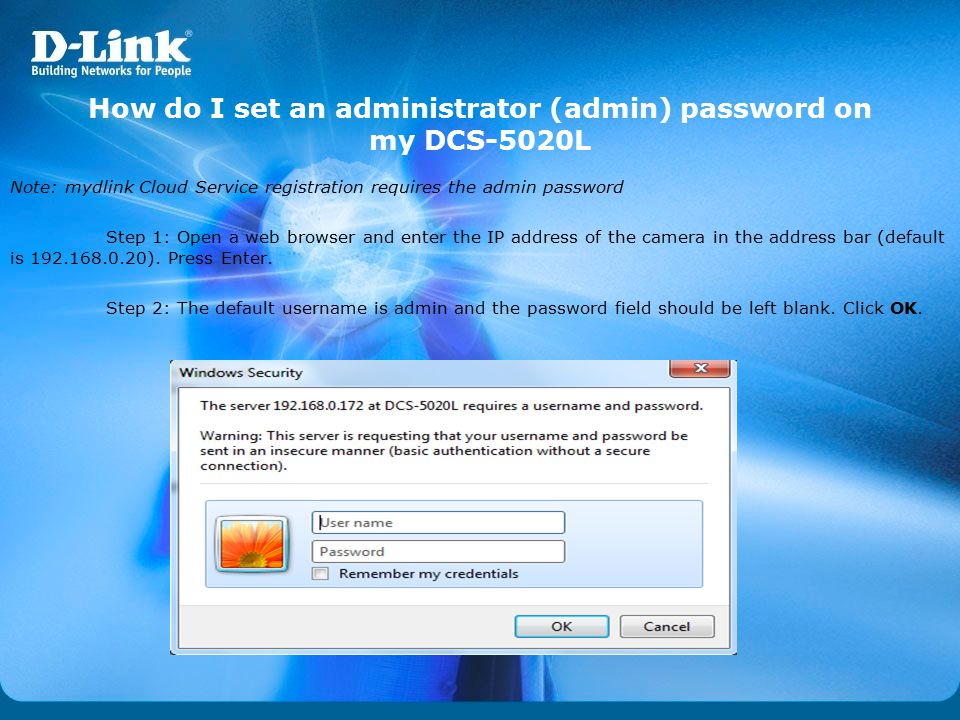 How do I set an administrator (admin) password on my DCS-5020L