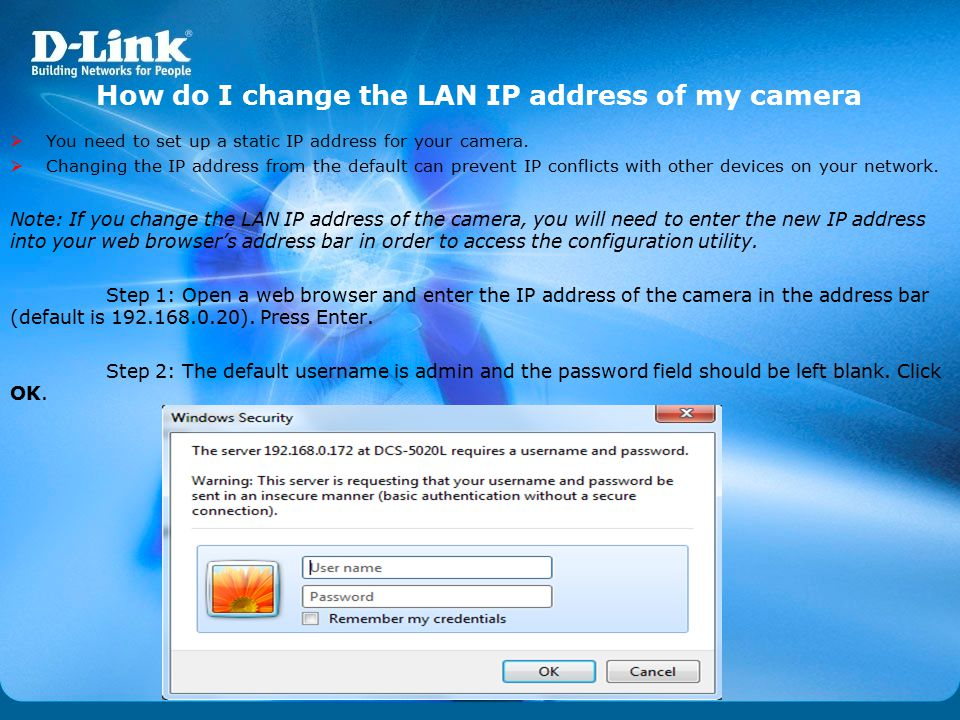 How do I change the LAN IP address of my camera