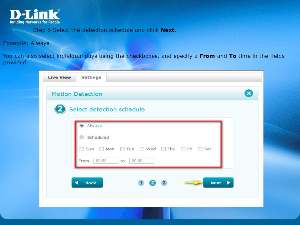 Step 6 Select the detection schedule and click Next.