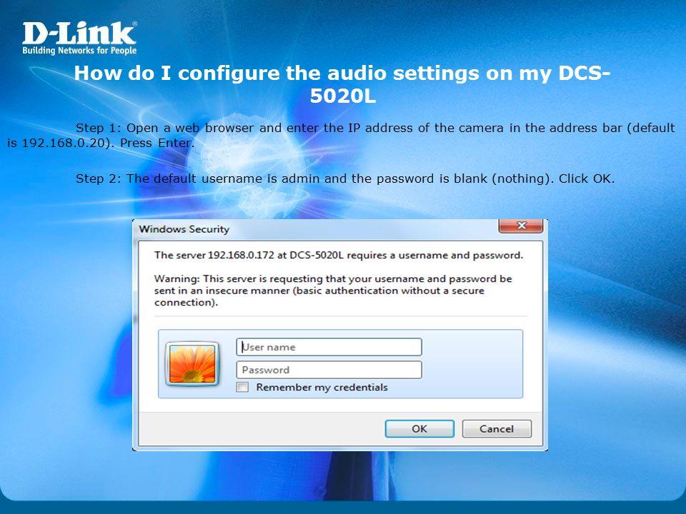 How do I configure the audio settings on my DCS-5020L