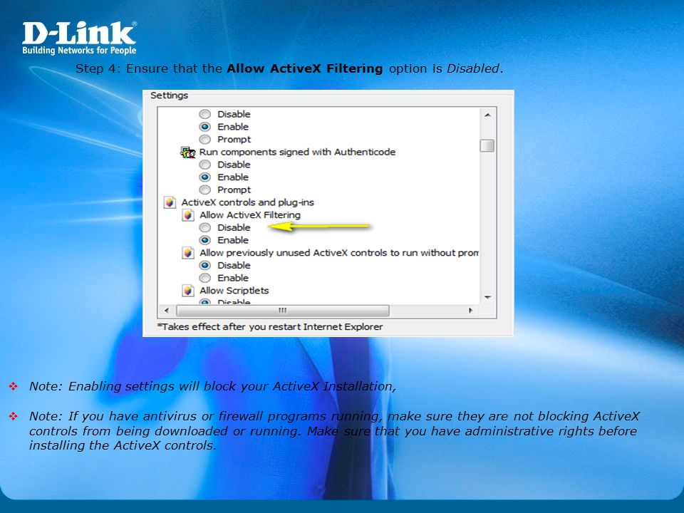 Step 4: Ensure that the Allow ActiveX Filtering option is Disabled.